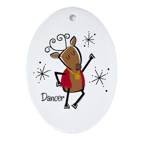 Dancer Reindeer Ornament (Oval)
