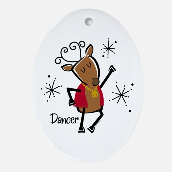 Dancer Reindeer Ornament (Oval)