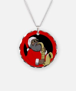 Saxophone Santa Necklace
