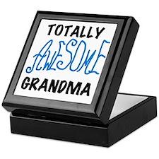 Blue Awesome Grandma Keepsake Box