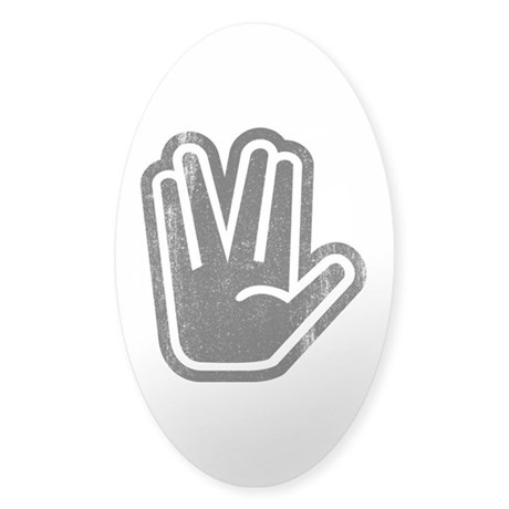 Live Long & Prosper Hand Sticker (Oval)