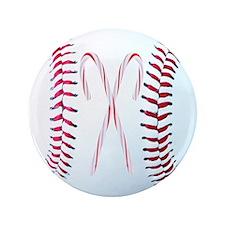 """Christmas Baseball 3.5"""" Button"""