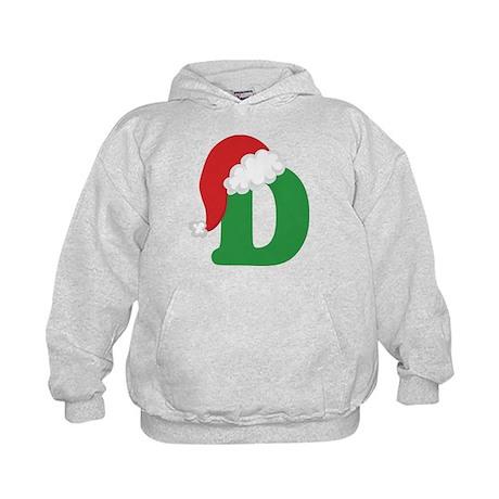Christmas Letter D Alphabet Kids Hoodie