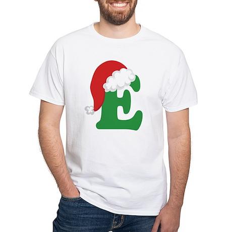 Christmas Letter E Alphabet White T-Shirt