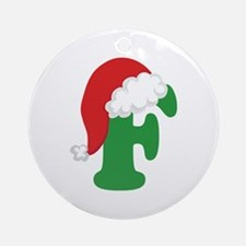 Christmas Letter F Alphabet Ornament (Round)