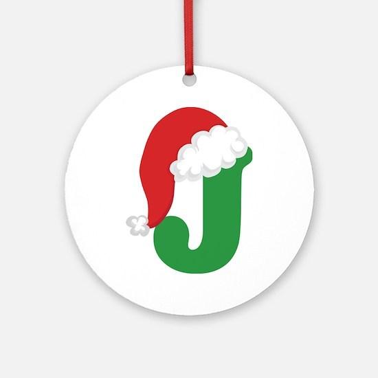 Christmas Letter J Alphabet Ornament (Round)