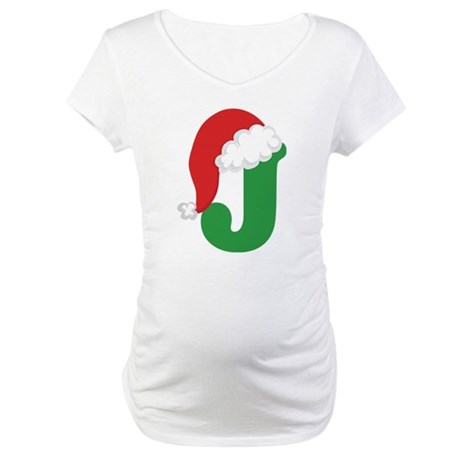 Christmas Letter J Alphabet Maternity T-Shirt