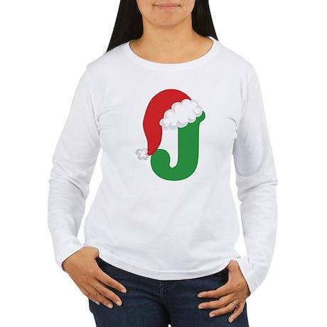 Christmas Letter J Alphabet Women's Long Sleeve T-