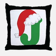 Christmas Letter J Alphabet Throw Pillow
