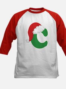 Christmas Letter C Alphabet Kids Baseball Jersey