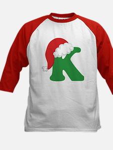 Christmas Letter K Alphabet Kids Baseball Jersey