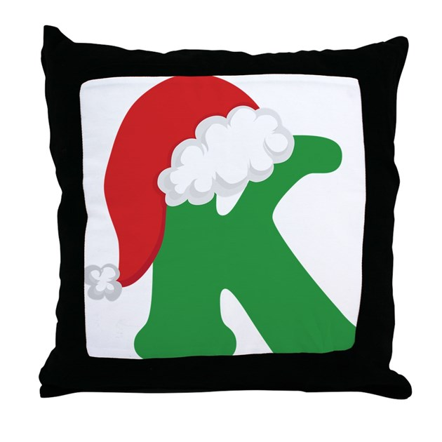 Throw Pillows With Letters : Christmas Letter K Alphabet Throw Pillow by mainstreetshirt