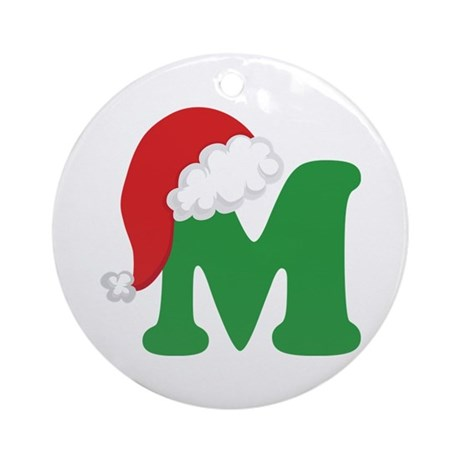 Christmas Letter M Alphabet Ornament (Round)