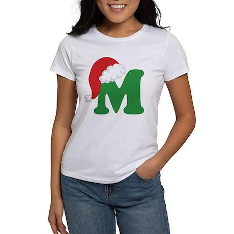Christmas Letter M Alphabet Women's T-Shirt