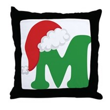 Christmas Letter M Alphabet Throw Pillow