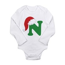 Christmas Letter N Alphabet Long Sleeve Infant Bod