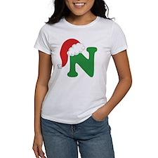 Christmas Letter N Alphabet Tee