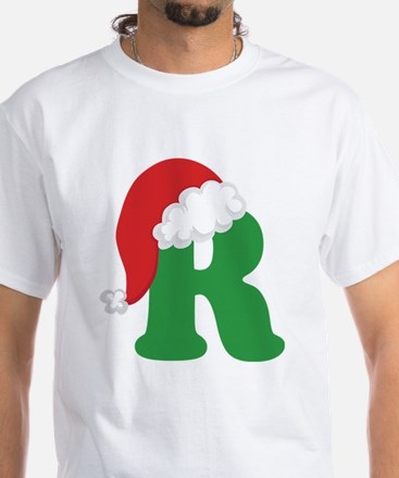 Christmas Letter R Alphabet White T-Shirt