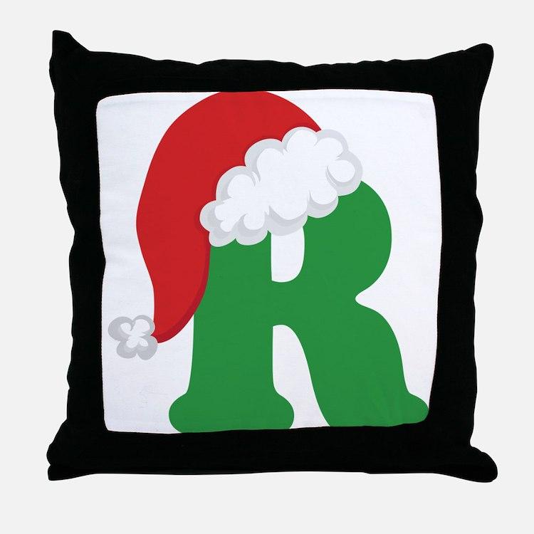 Christmas Letter R Alphabet Throw Pillow