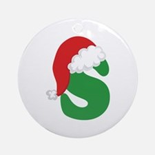 Christmas Letter S Alphabet Ornament (Round)