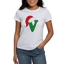 Christmas Letter V Alphabet Tee