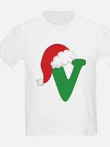 Christmas Letter V Alphabet T-Shirt