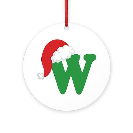 Christmas Letter W Alphabet Ornament (Round)