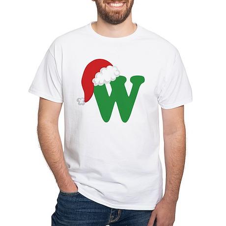 Christmas Letter W Alphabet White T-Shirt