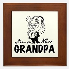 Smiling New Grandpa Framed Tile