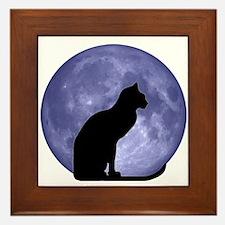 Cat & Moon Framed Tile
