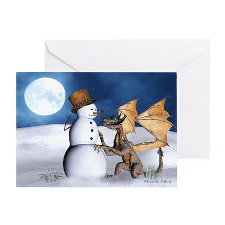Dragon With Snowman Christmas Card