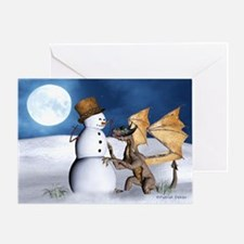 Dragon With Snowman Christmas Card