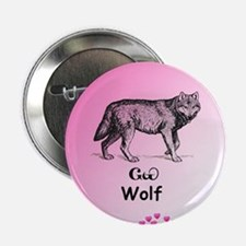 """Young Cherokee Wolf 2.25"""" Button"""