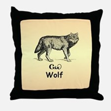 Young Cherokee Wolf Throw Pillow