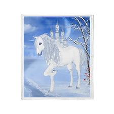 The White Unicorn Throw Blanket
