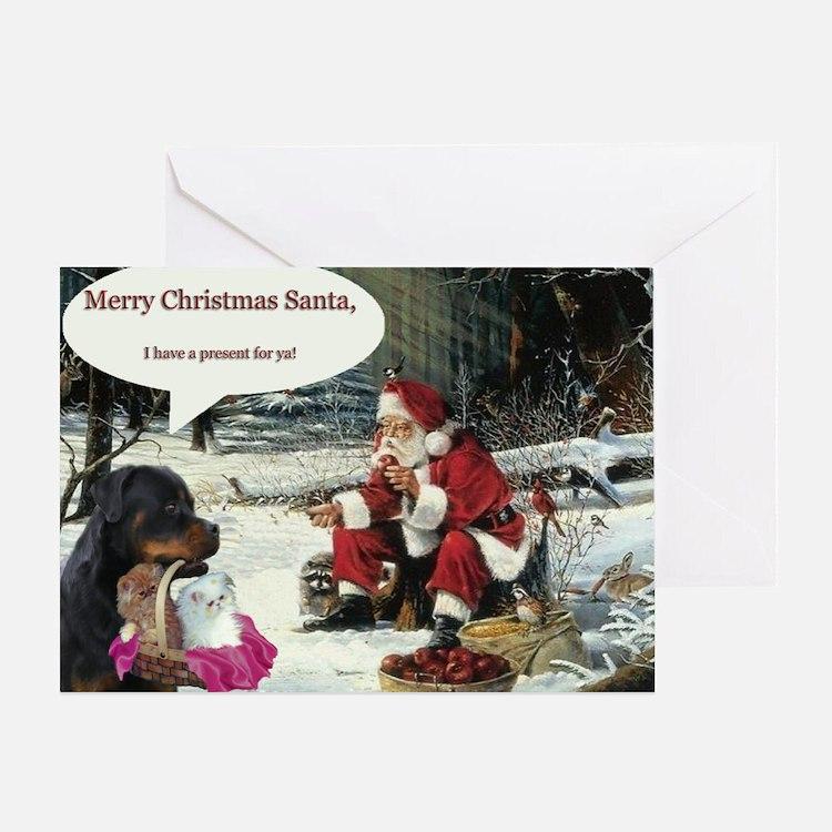 Rottweiler/Kittens Greeting Card