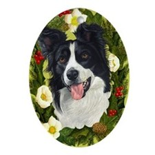 Border Collie Ornament (Oval)