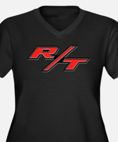R/T Women's Plus Size V-Neck Dark T-Shirt