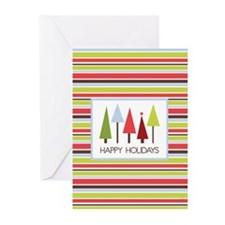 Stripes and Trees Holiday Greeting Cards (Pk of 10
