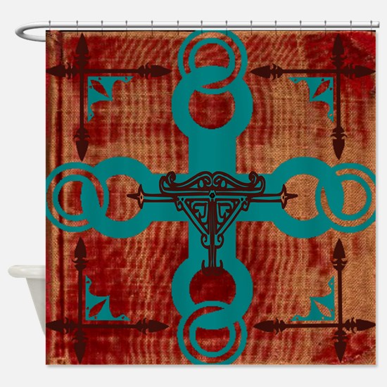 red and turquoise shower curtain. Turquoise red Shower Curtain Red Curtains  CafePress