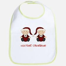 Twin Boys First Christmas Bib