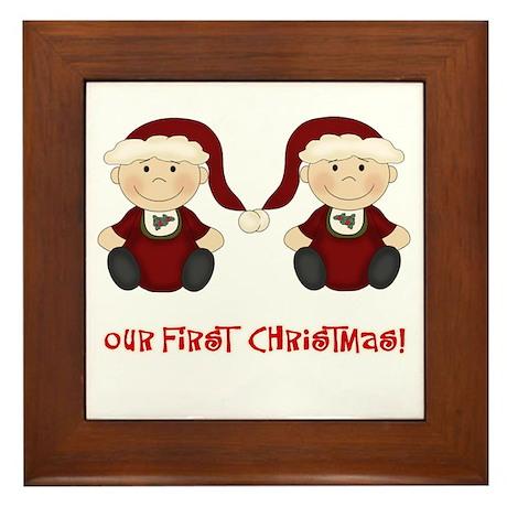 Twin Boys First Christmas Framed Tile