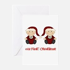 Twin Boys First Christmas Greeting Cards (Pk of 10
