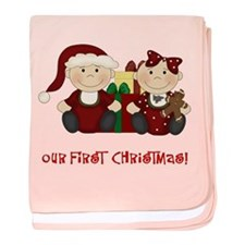 Twin Boy and Girl 1st Christmas baby blanket