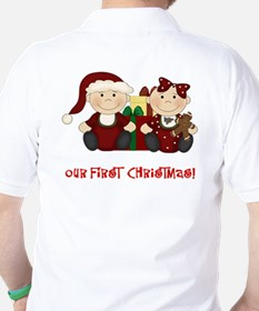 Twin Boy and Girl 1st Christmas Golf Shirt