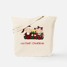 Twin Boy and Girl 1st Christmas Tote Bag