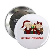 "Twin Boy and Girl 1st Christmas 2.25"" Button"