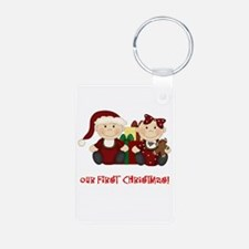 Twin Boy and Girl 1st Christmas Keychains