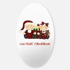 Twin Boy and Girl 1st Christmas Decal