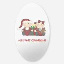 Twin Boy and Girl 1st Christmas Sticker (Oval)